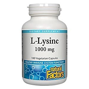 Natural Factors L Lysine, Supports Healthy Immune System Function, 180 Vegetarian Capsules