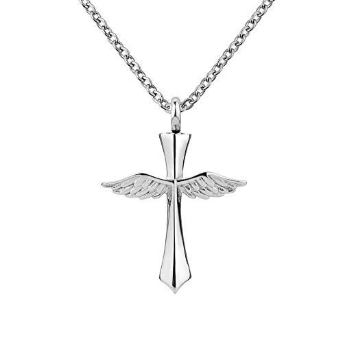 LovelyCharms Cross Angel Wings Urn Necklace for Ashes Stainless Steel Keepsake Memorial Cremation Pendant
