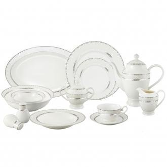 (Lorren Home Trends La Luna Bone China 57-Piece Silver Embossed Design Dinnerware Set, Service for 8)