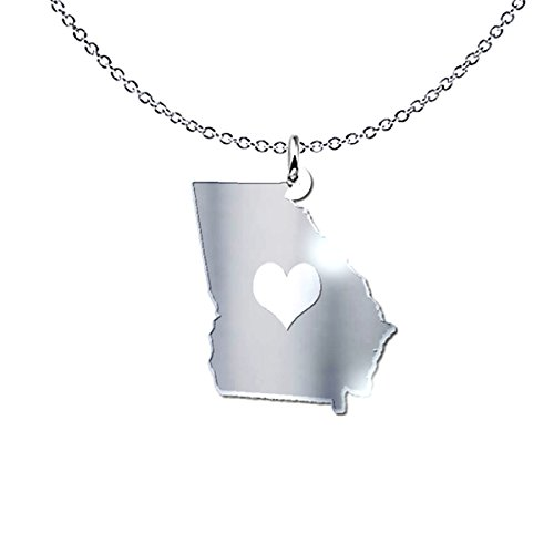 mmandiDESIGNS Georgia State Heart Pendant Necklace - Solid .925 Etched Sterling Silver Gift
