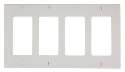 Leviton 80412-NW 4-Gang Decora/GFCI Device Wallplate, Standard Size, Thermoplastic Nylon, Device Mount, White