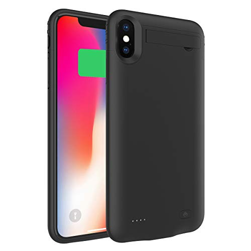 Battery Case Compatible with iPhone XS Max, Charging Case 5200mAh Rechargeable External Portable Battery Pack Power Bank Extended Backup Protective Case Black