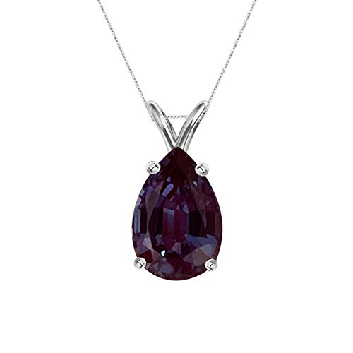(2.25-2.54 Cts of 10x7 mm AAA Pear Cut Lab Created Russian Alexandrite Solitaire Pendant in 14K White)