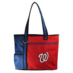 (Charm14 MLB Washington Nationals Tote Bag with Embroidered Logo, 13