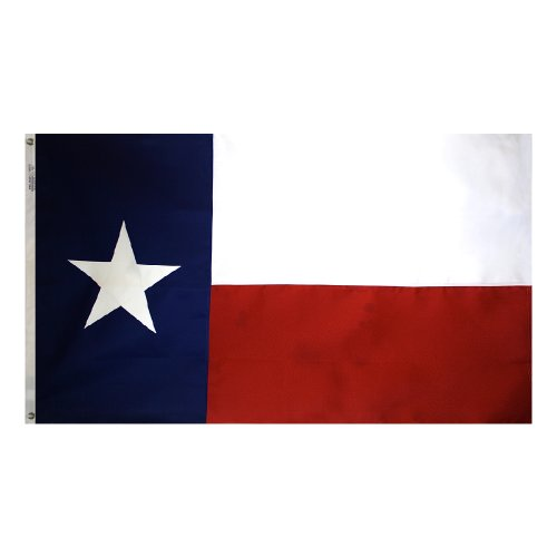 Annin Flagmakers Model 145306 Texas State Flag Tough-Tex The Strongest, Longest Lasting, 4x6 ft, 100% Made in USA to Official Design Specifications Stripe and Sewn Appliqued Star with Brass Grommets ()