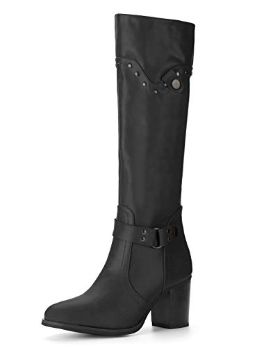Image of Allegra K Women's Strap Chunky Heel Knee High Riding Boots