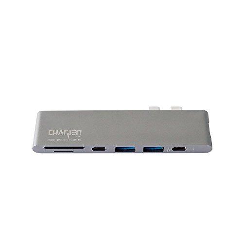 USB C Hub for Apple MacBook Pro 2018, 2017, 2016 - USBC Adapter, Premium MacBar, Thunderbolt 3 (TB3) 40GB/S data, 5K@60Hz, HDMI 4K, Type C, 2 USB 3.0, SD and Micro SD Card Reader, 7in1, Space Gray by CharJenPro (Image #7)