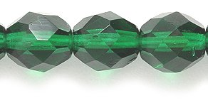 - Preciosa 8mm Polished Glass Bead, Faceted Round, Transparent Green,