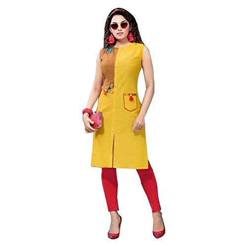 255463dd7f littledesire Women Daily Wear Printed Cotton Kurta (S) Yellow: Amazon.in:  Clothing & Accessories