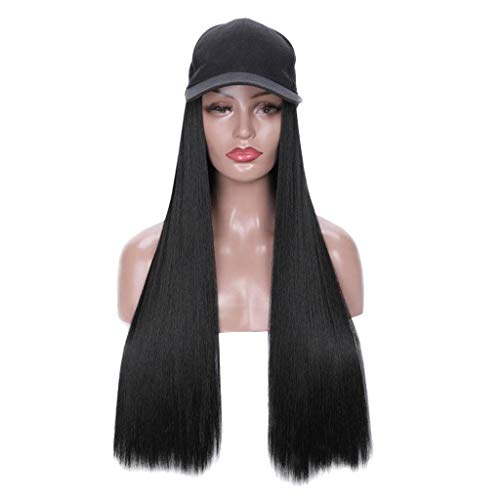 Fine Long Wavy Wigs for Women, Long Straight Wig Cap 30 inch Long Hair Baseball Cap Ball Caps Casual Hat with Wig Cosplay Wig (Black)