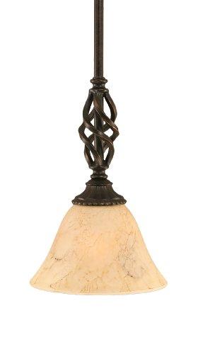 Italian Marble Shade - Toltec Lighting 80-DG-508 Elegante Mini-Pendant Dark Granite Finish with Italian Marble Glass Shade, 7-Inch
