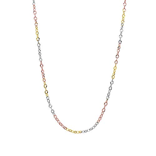 14K 3 Color Gold 2.5mm Diamond Cut Anchor/Cable Chain Necklace -Made in Italy ()