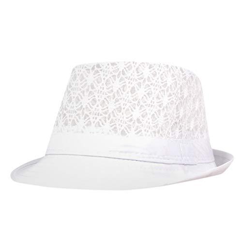 Halfbye Mens Womens Straw Fedora Panama Beach Golf Safari Sun Hat Packable & Adjustable]()