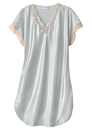 Shadowline Women's Charming Satin Chameuse Sleepshirt, Silver, Medium