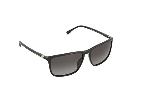 BOSS by Hugo Boss Men's B0665S Rectangular Sunglasses, Shiny Black & Gray Gradient, 57 mm