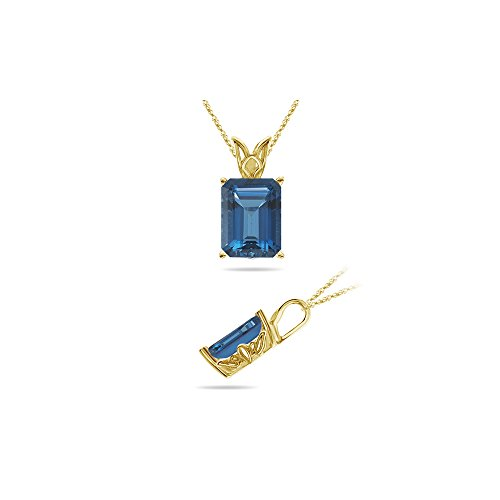 0.89 Cts of 7x5 mm AAA Emerald Cut London Blue Topaz Scroll Solitaire Pendant in 14K Yellow Gold