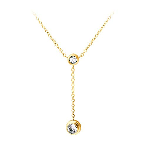 (555Jewelry Womens Stainless Steel Metal Charming Lariat Style Y Droplet Cable Chain Brilliant Drop Round CZ Layered Hypoallergenic Fashion Jewelry Accessory Pendant Necklace, Yellow Gold 18)