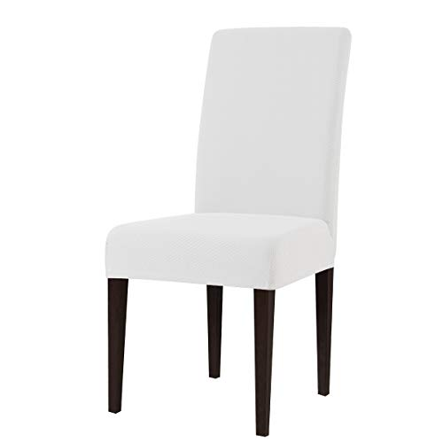 subrtex Knit Dining Chair Covers Stretch Chair Slipcovers Washable Furniture Protector in Dining Room (Set of 4, White)