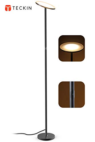 LED Floor Lamp, Torchiere Floor lamp, Tall Standing Uplight Industrial Floor Lamps Stepless Dimmable Modern Pole Floor Light for Living Room Offices Bedroom, TECKIN Daylight Floor Lights Black