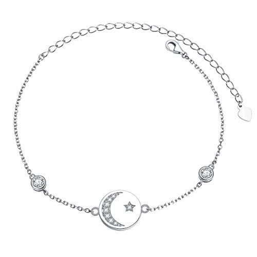 (YinShan Dainty S925 Sterling Silver Jewelry Adjustable Sun Moon and Star Choker Necklace Chain and Bracelet (Moon and Star Bracelet))