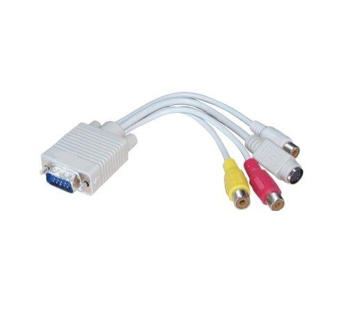TRIXES Câ ble adaptateur VGA vers sorties S-vidé o et RCA TV CA004
