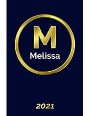 Melissa: 2021 Planner - Personalized Name Organizer - Initial Monogram Letter - Plan Days, Set Goals & Get Stuff Done - Gold Calendar & Schedule Agenda (6x9, 175 Pages)