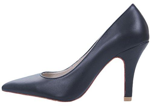 LizForm Women Pointed Toe Leather Pumps Comfortable Dress Pump Prom High Heel Black CeEObrjN