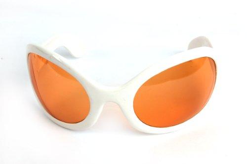 Pop Fashionwear Unisex Color Bug Eye Sunglasses Retro Rave Shades P501 (White-Orange Lens)]()