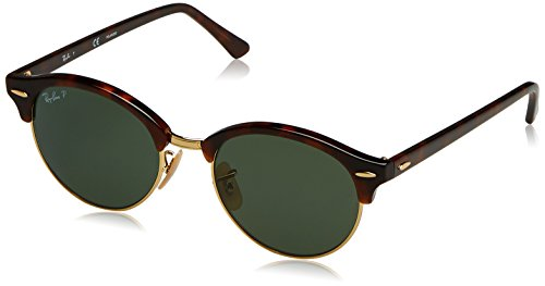 Ray-Ban Clubround Polarized Round Sunglasses, Red Havana, 51 - Wood Ban Ray