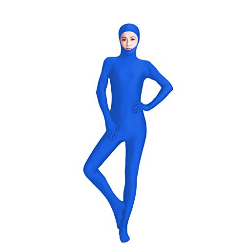 Blue Morphsuit Costume Ideas (Muka Lycra Spandex Zentai Unitard with Face Open Second Skin Bodysuit Catsuit Dancewear-Royalblue-M)