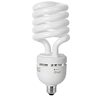 Compact Fluorescent Light Bulb, CFL, T5 Spiral, 4100K Cool White, 65W (300 Watt Equivalent), 4000 Lumens, E26 Medium Base, 120V, UL Listed