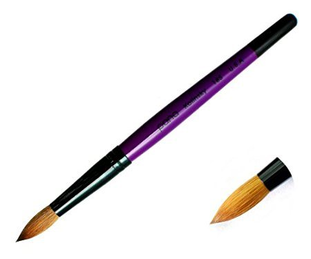 Pana® 100% Kolinsky Acrylic Nail Art Round Style Brush with Purple Wood Handle - Professional Salon Quality (Size 14)