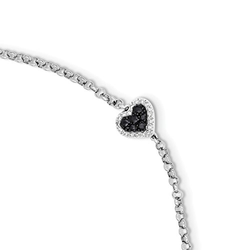 (925 Sterling Silver Diamond Sapphire Heart Bracelet 7 Inch Gemstone/love Fine Jewelry For Women Gift)