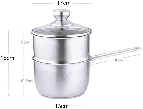 N / C Pot à Lait en Acier Inoxydable de Haute qualité, Pot à Lait de 1,5 Litre, Pot à Lait avec Couvercle en Verre, poignée Confortable, cuiseur à Vapeur Double boulette