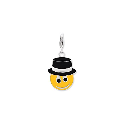 925 Sterling Silver Enameled Face Top Hat Lobster Clasp Pendant Charm Necklace Fine Jewelry Gifts For Women For Her