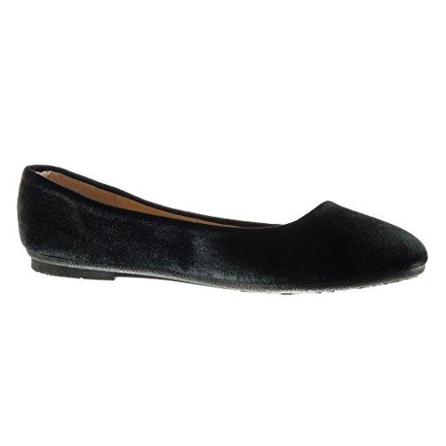 Angkorly - Zapatillas de Moda Bailarinas slip-on mujer Talón tacón plano 1 CM - Negro