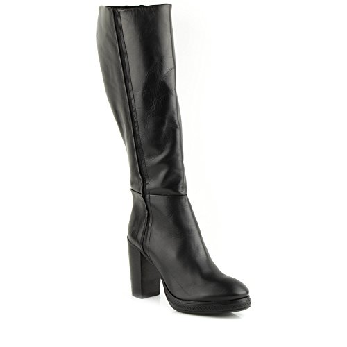Felmini - Zapatos para Mujer - Enamorarse com Edit 9805 - Botas Altas con tacones - Cuero Genuino - Negro Negro