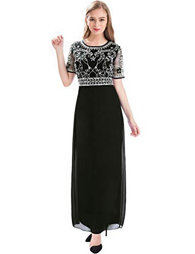MANER Women Chiffon Beaded Embroidered Sequin Long Gowns Prom Evening Bridesmaid Dress(S,Black)