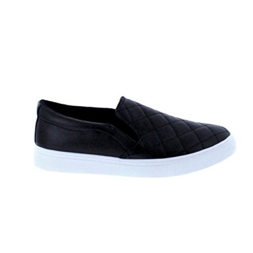 Makers Gaby-6 Womens Slip-On Quilted Fashion Sneakers Black Pu FAJrIZoid