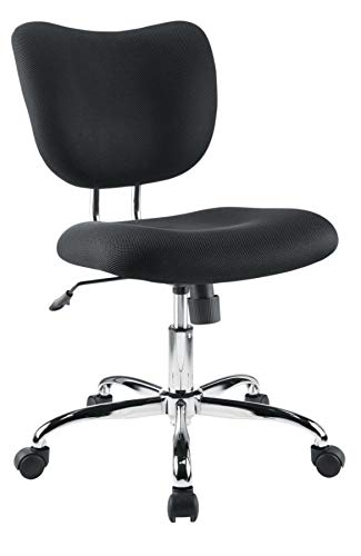 Mesh Low-Back Fabric Task Chair, Black/Chrome ()
