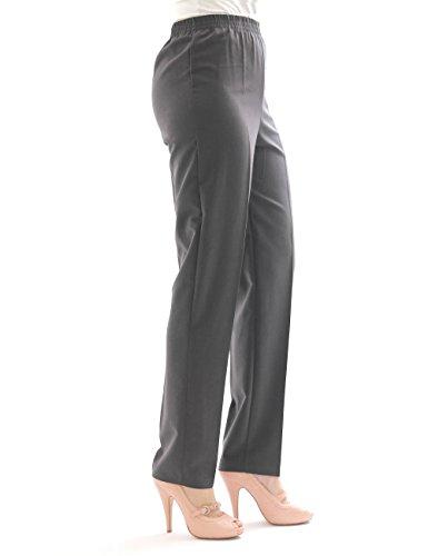 Pantalon femmes DROIT Collants schlupfform ceinture extensible à plis n-größe - gris foncé, 46(Deutschland) - 54(Italien)