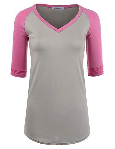 (Doublju Women's Color Contrast Raglan 3/4 Sleeve Top V-Neck Shirt, GREYPINK XL Plus Size)