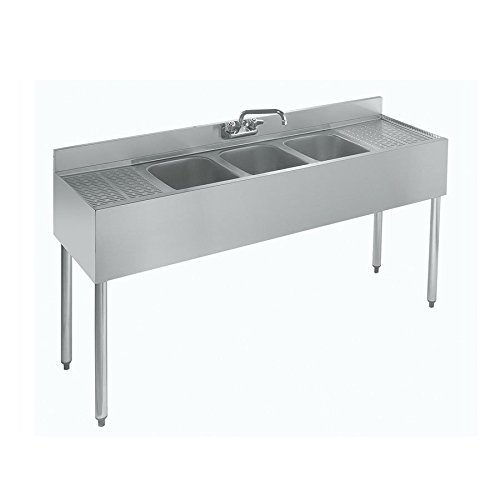 Stainless Steel Three Compartment Under Bar Sink with Left and Right Drainboard 60 x 18.5