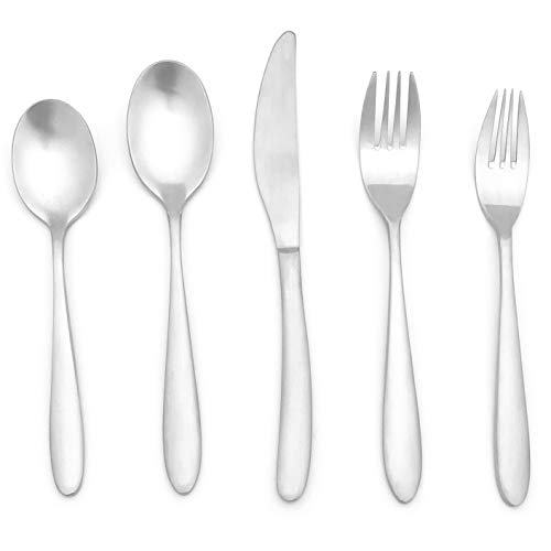 20 Pieces Matte Silverware Set, 18/10 Stainless Steel Heavy Duty Flatware Set with Satin Finish, Cutlery Set Service for 4, -