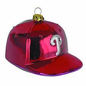 Philadelphia Phillies Team Glass Baseball Hat Ornament
