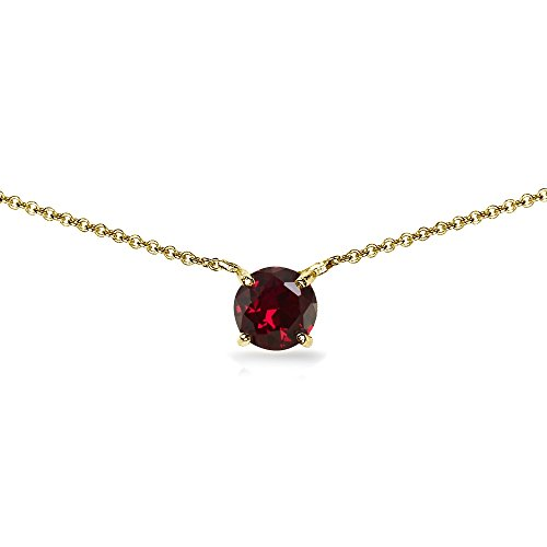 (Yellow Gold Flashed Sterling Silver Created Ruby 7mm Round Dainty Choker Necklace)