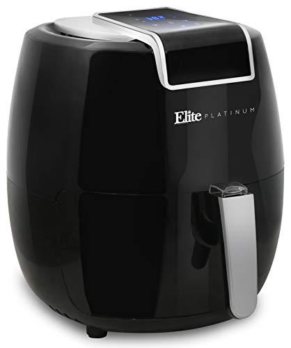 Elite Platinum EAF-1800H Electric Digital Air Fryer Oil-Less Healthy Cooker XL 5.6Qt Capacity, 7 Menu functions, Color Recipe Book, 5.6 Quart, Black
