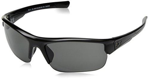 Under Armour UA Propel Wrap Sunglasses, UA Propel Shiny Black/Black Frame/Gray Lens, 68mm by Under Armour