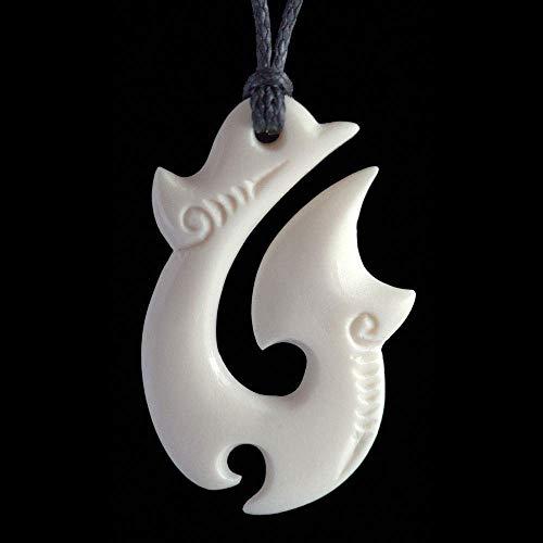 Maori Style Carved Bone Matau (fish hook) Pendant from New Zealand