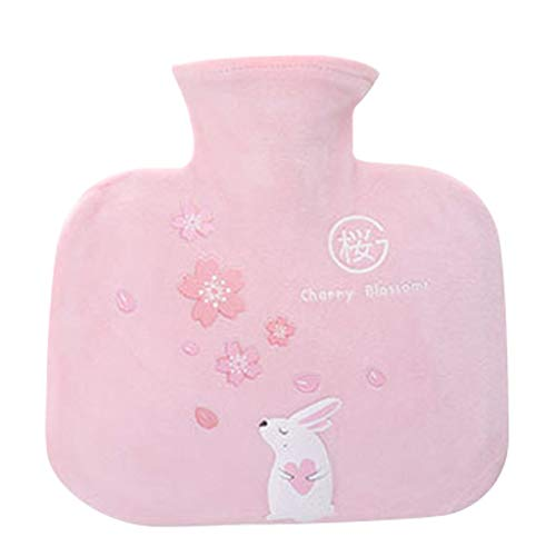 Fan-Ling Cute Cartoon Explosion-Proof,Hand Warmer,Water Injection Hot Water Bottle,Large Portable Hand Warmer,Multi-Function Thermos,Removable Washable Plush Cloth Cover,21X20cm (Pink)